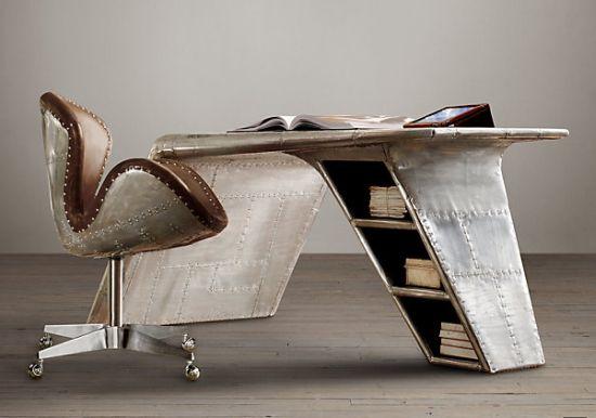 Charming GarageMahals Restoration Hardwareu0027s Aviator Wing Desk Is Inspired By  Streamlined WW II Fighter Planes » GarageMahals