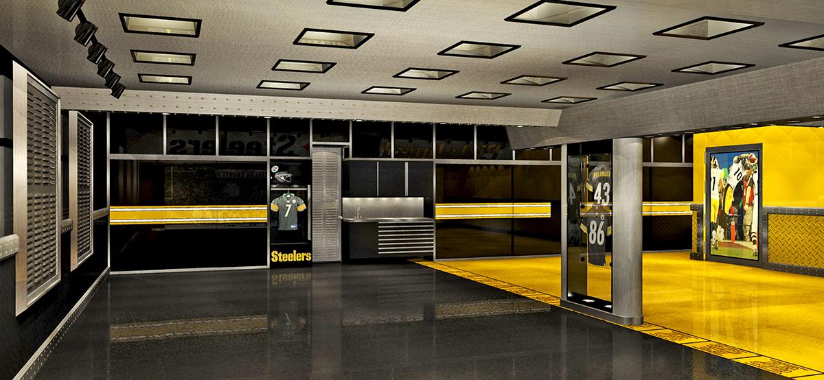 GarageMahals Pittsburg Steeler Themed Garage